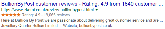 Example of structured data in SERPs