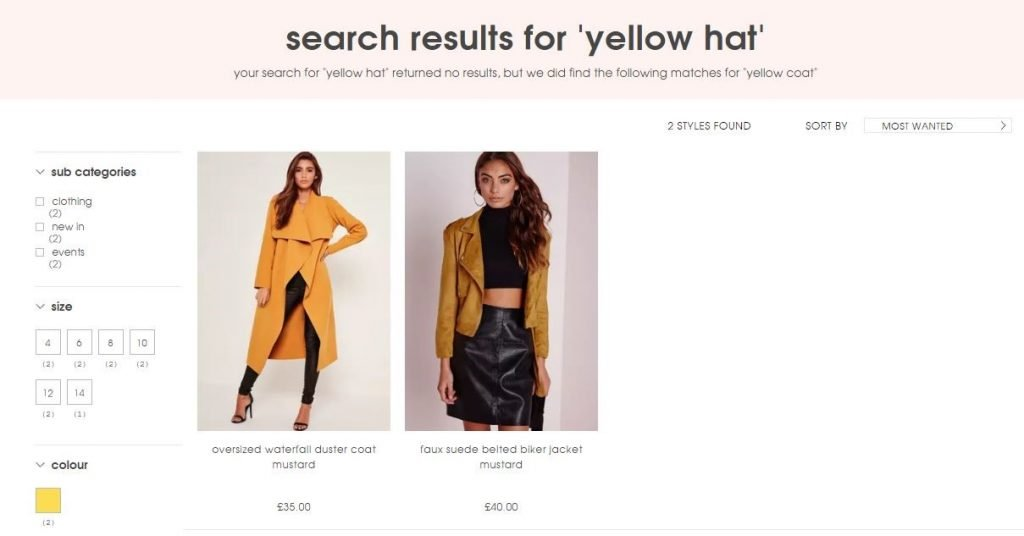 Missguided site search results