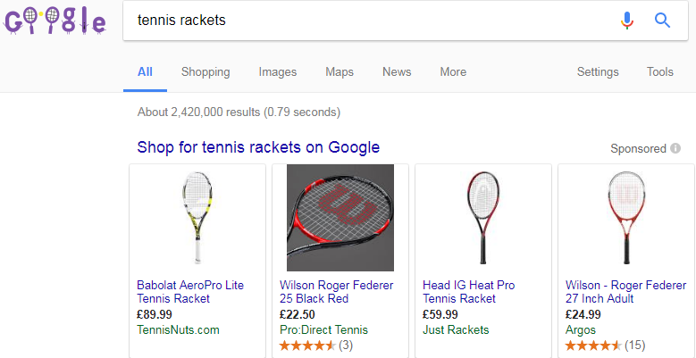 Google Shopping results for tennis rackets
