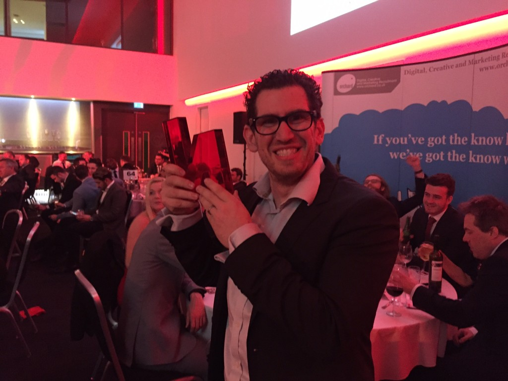 CEO Guy Levine with the Prolific North Award for best PPC & SEO Agency